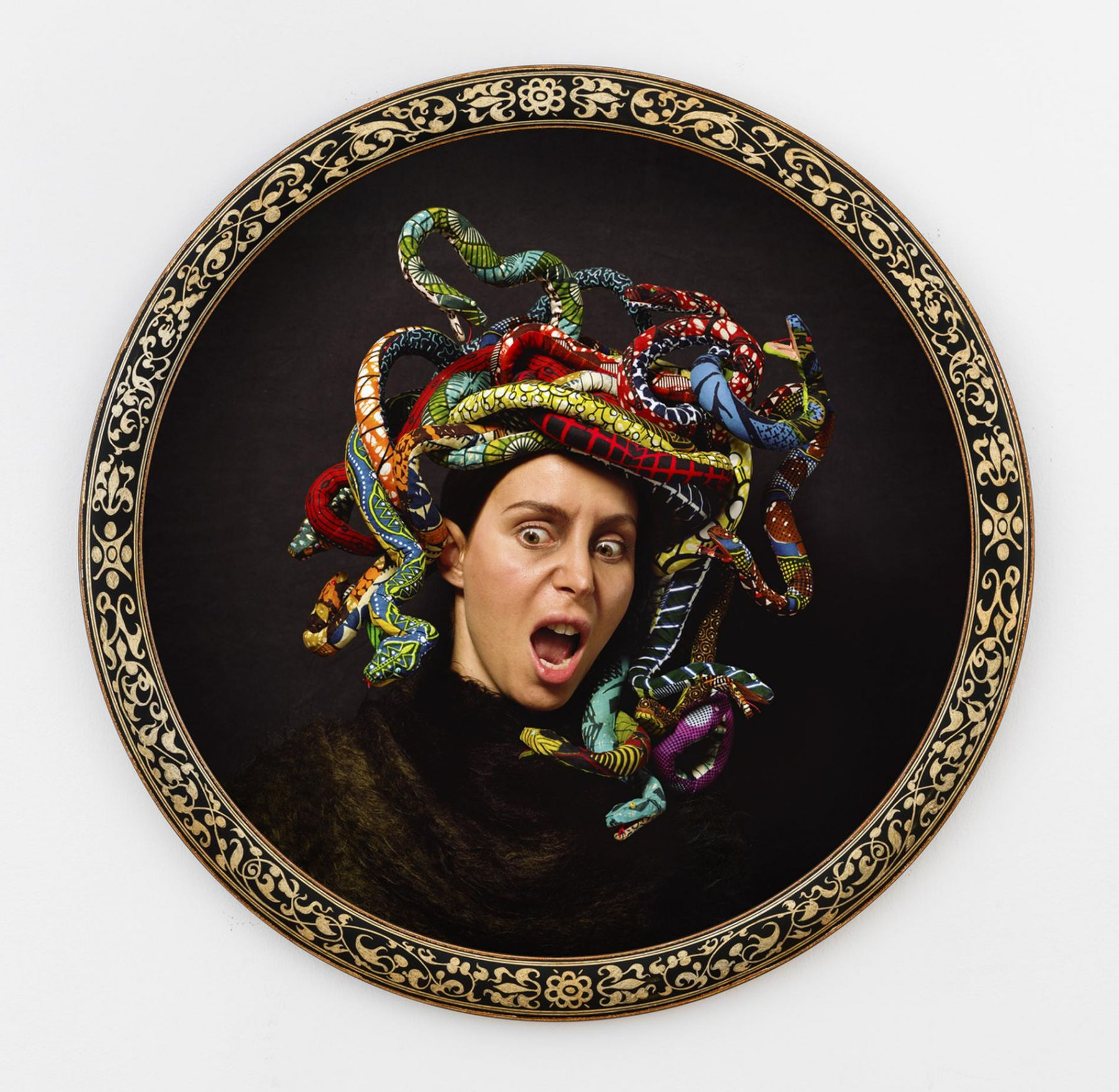 , YINKA SHONIBARE MBE Medusa South, 2015 Digital chromogenic print, bespoke wood frame Framed diameter: 44 7/8 in. (113.98 cm) Edition of 5
