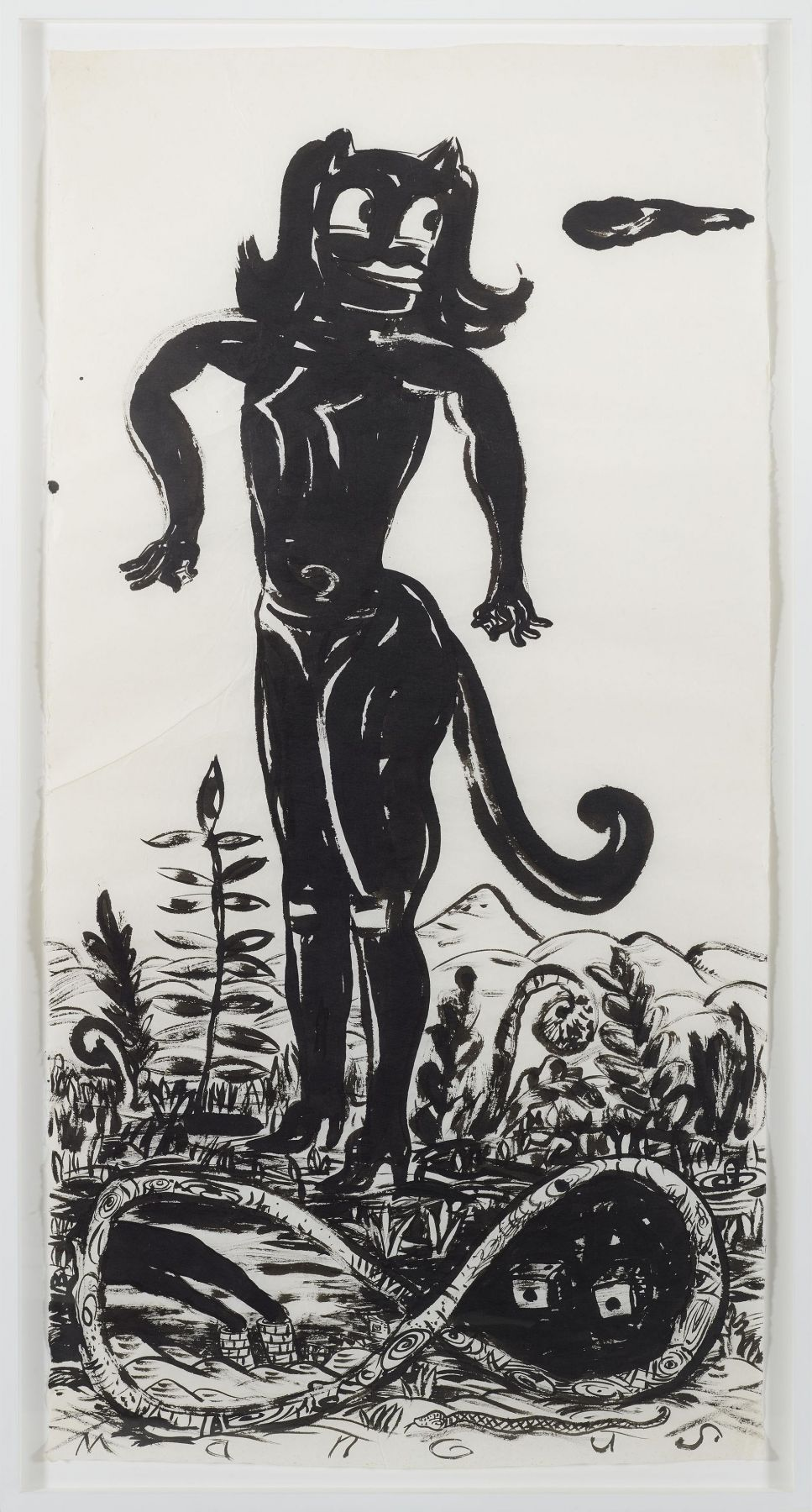 , Cat Girl In Paradise, 1997, Ink on mulberry paper, 56 1/2 x 28 1/2 in.