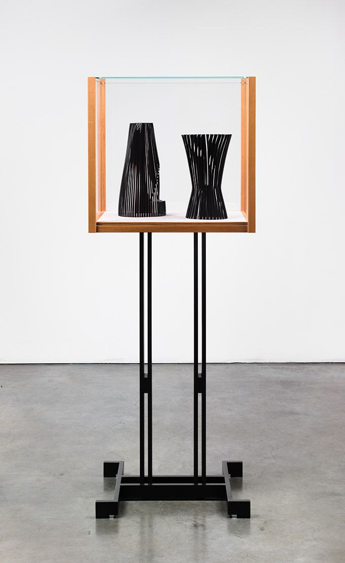 JOSIAH MCELHENY, Models for an abstract body (after Delaunay and Malevich)2012Patinated cold-roll steel, cedar wood, low iron glass, hand blown and carved glass65 3/8 x 24 1/2 x 17 1/2 inches166.1 x 62.2 x 43.2 cm