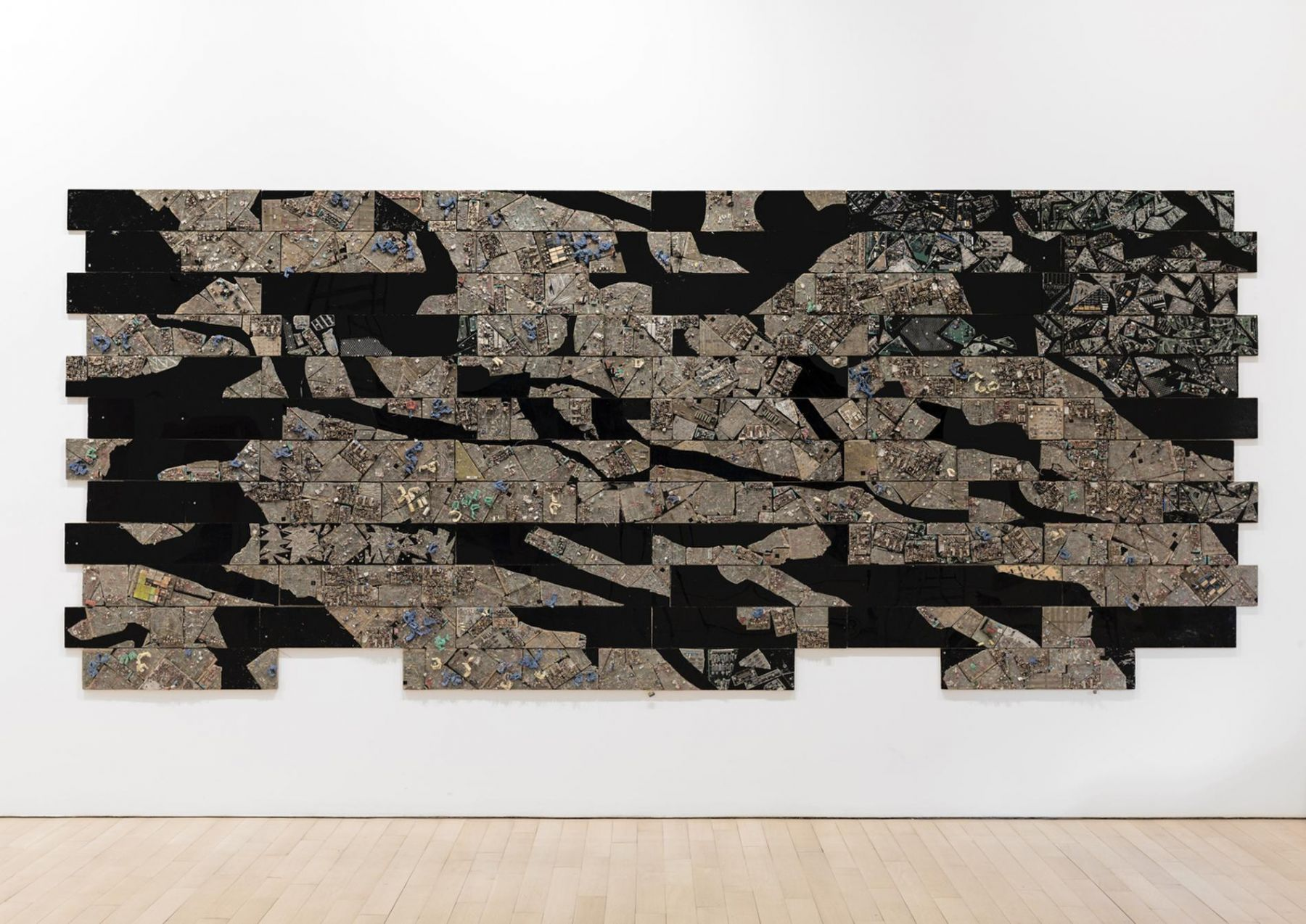 , ELIAS SIME, Tightrope 3, 2009 - 14. Reclaimed electrical components and fiberglass on panel, 81 1/2 x 195 in. (207 x 495.3 cm)