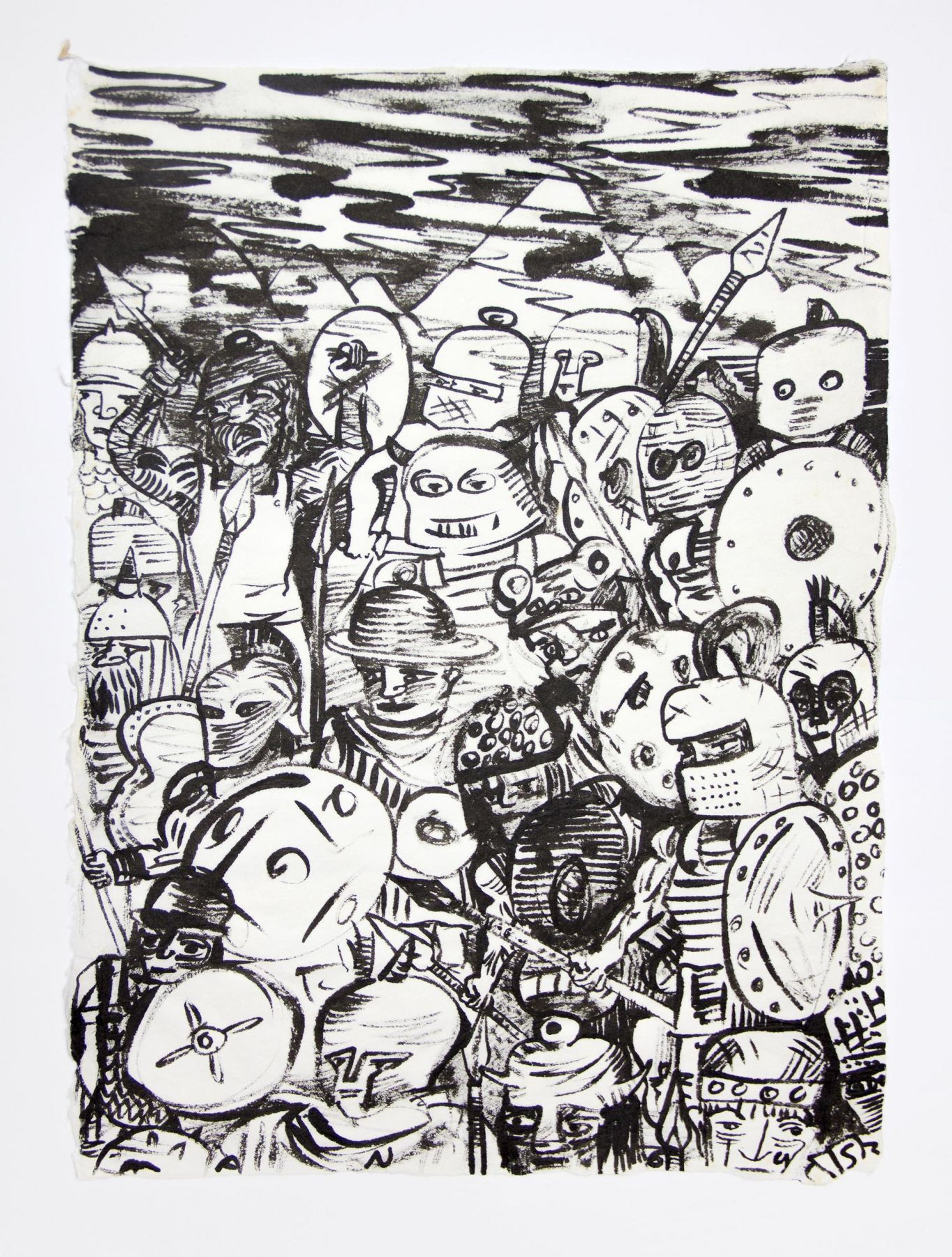 , The Gang, 1990, Ink on mulberry paper, 17 x 12 1/2 in.