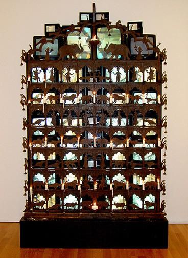 NAM JUNE PAIK, Elepahnt Gate, 1995, televisions, cabinet, electronic equipment, 117 x 70 x 37 inches