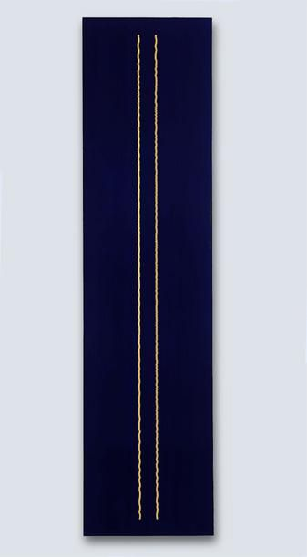 FRED TOMASELLI, Large Double Stack, 1990, acrylic, asprin, wood, 96 x 24 inches