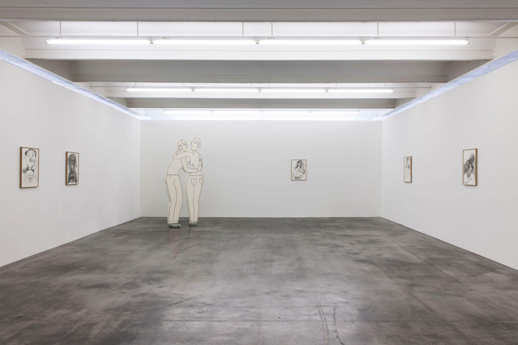 GRACE WEAVERInstallation view frompedestrian,Kunstverein Reutlingen, Germany, 2017