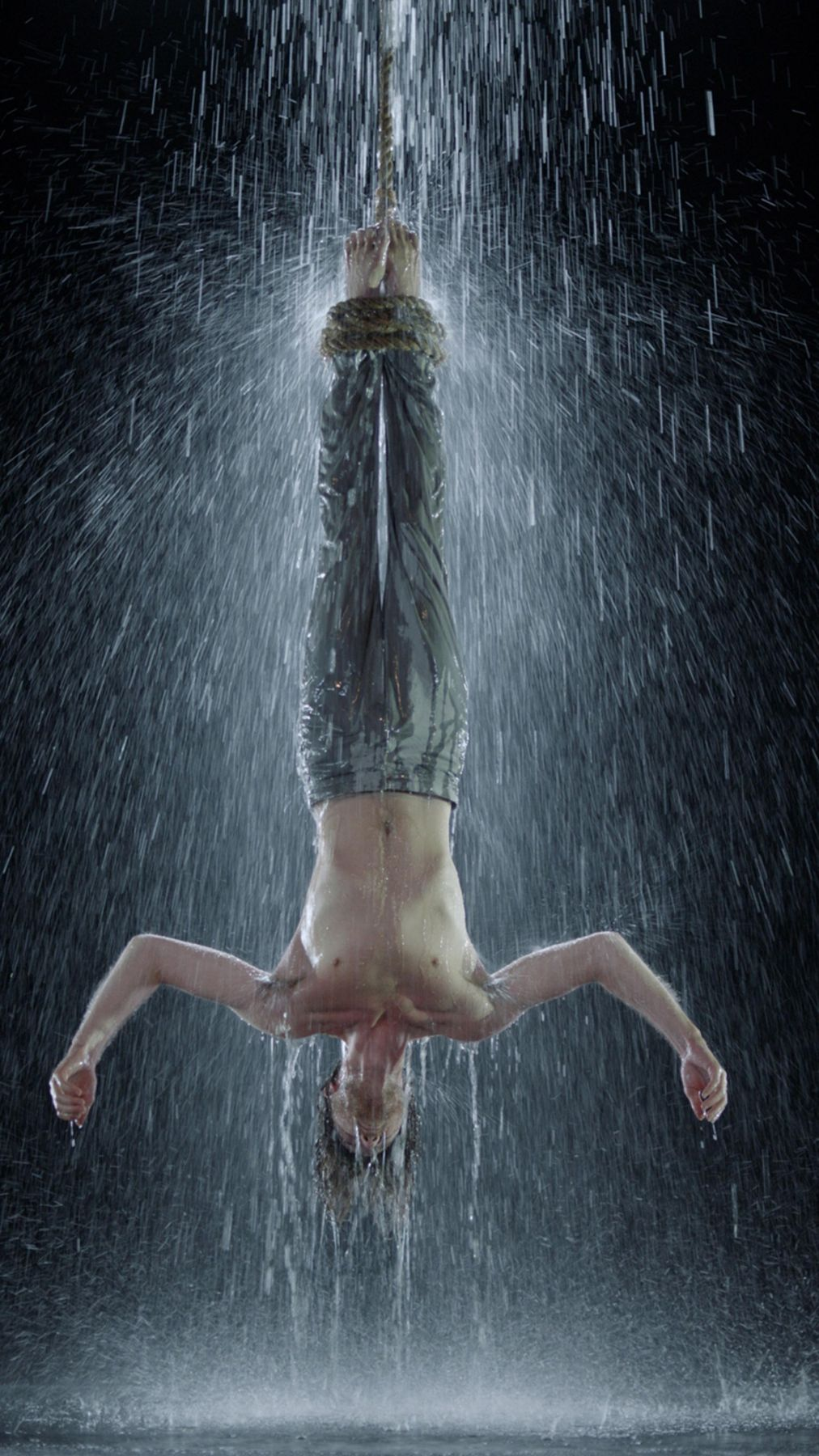 """, BILL VIOLA (æ¯""""å°"""" 维奥拉),Water Martyr,2014, color high-definition video on plasma display mounted vertically on wall, 42 3/8 x 24 1/2 x 2 5/8 in. 7:10 minutes. Executive producer: Kira Perov,"""