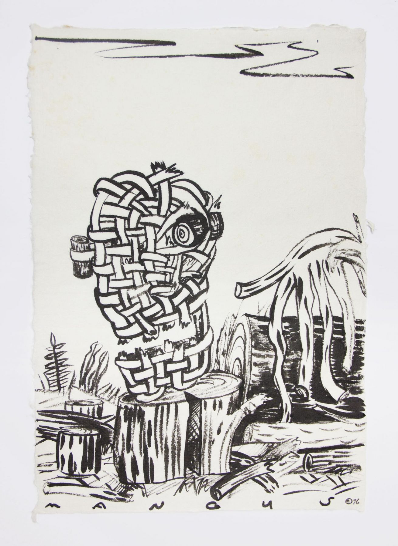 , Basket Head, 1988, Ink on mulberry paper, 17 x 12 1/2 in.