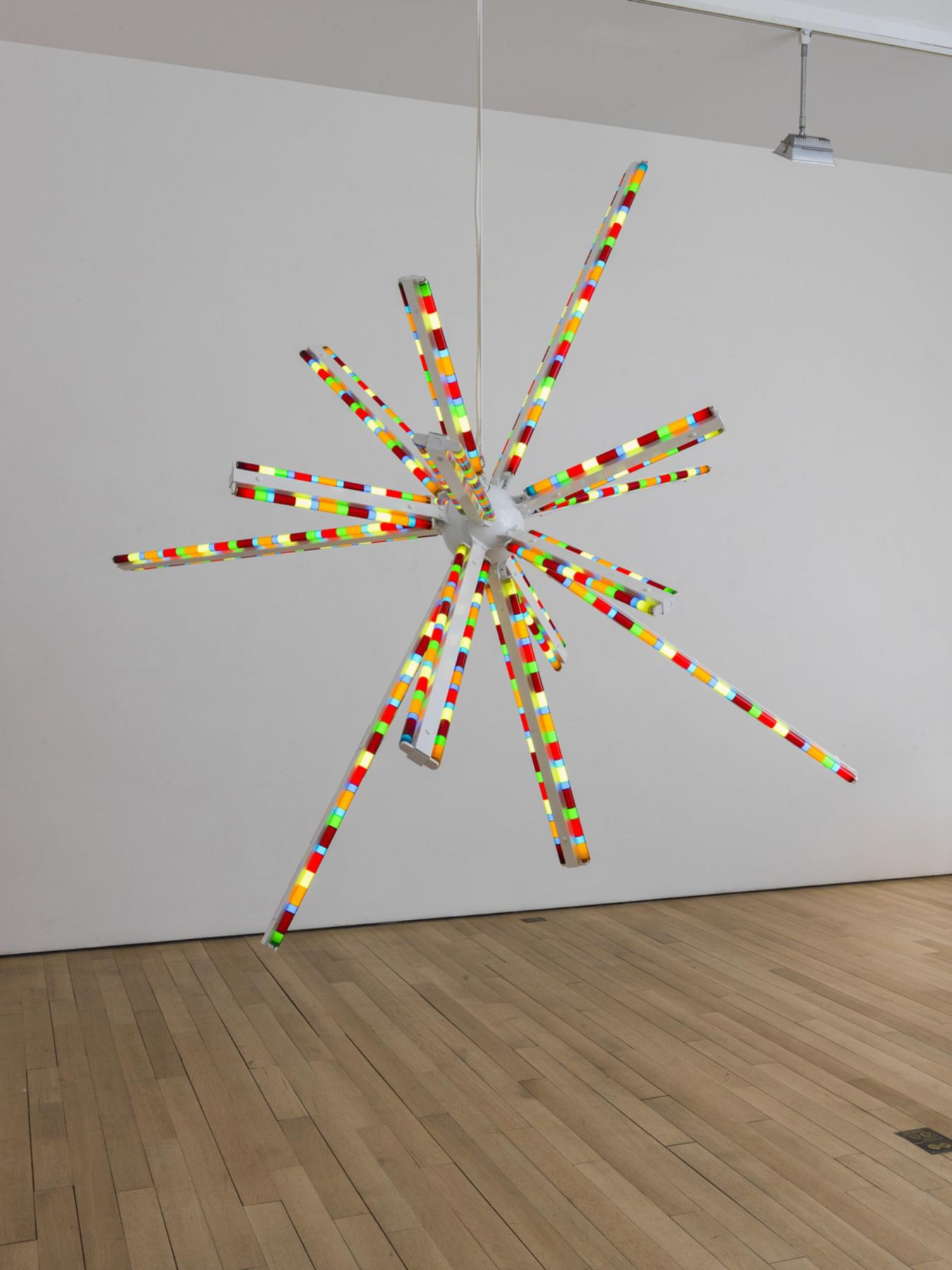, SPENCER FINCH Aldebaran, 2014 Powder-coated steel and fluorescent light Diameter: 110 in. (279.4 cm)
