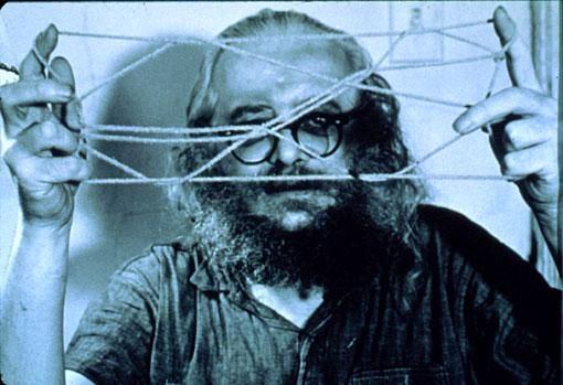 HARRY SMITH with string figure, 1970. Photo by Jon Palmer