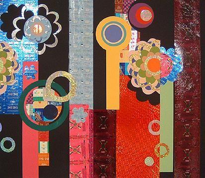 BEATRIZ MILHAZES, Lutti-Frutti, 2004, Collage on paper, 37 3/4 X 39 3/8 inches