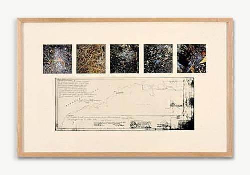 ROBERT SMITHSON, Urination Map of the Constellation Hydra, 1969, color photographs, photostat, pencil, 15 3/8 x 24 1/2 inches