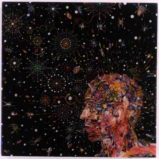 FRED TOMASELLI, Head Spreader, 2003, photocollage, gouache, acrylic, resin on wood panel, 24 X 24
