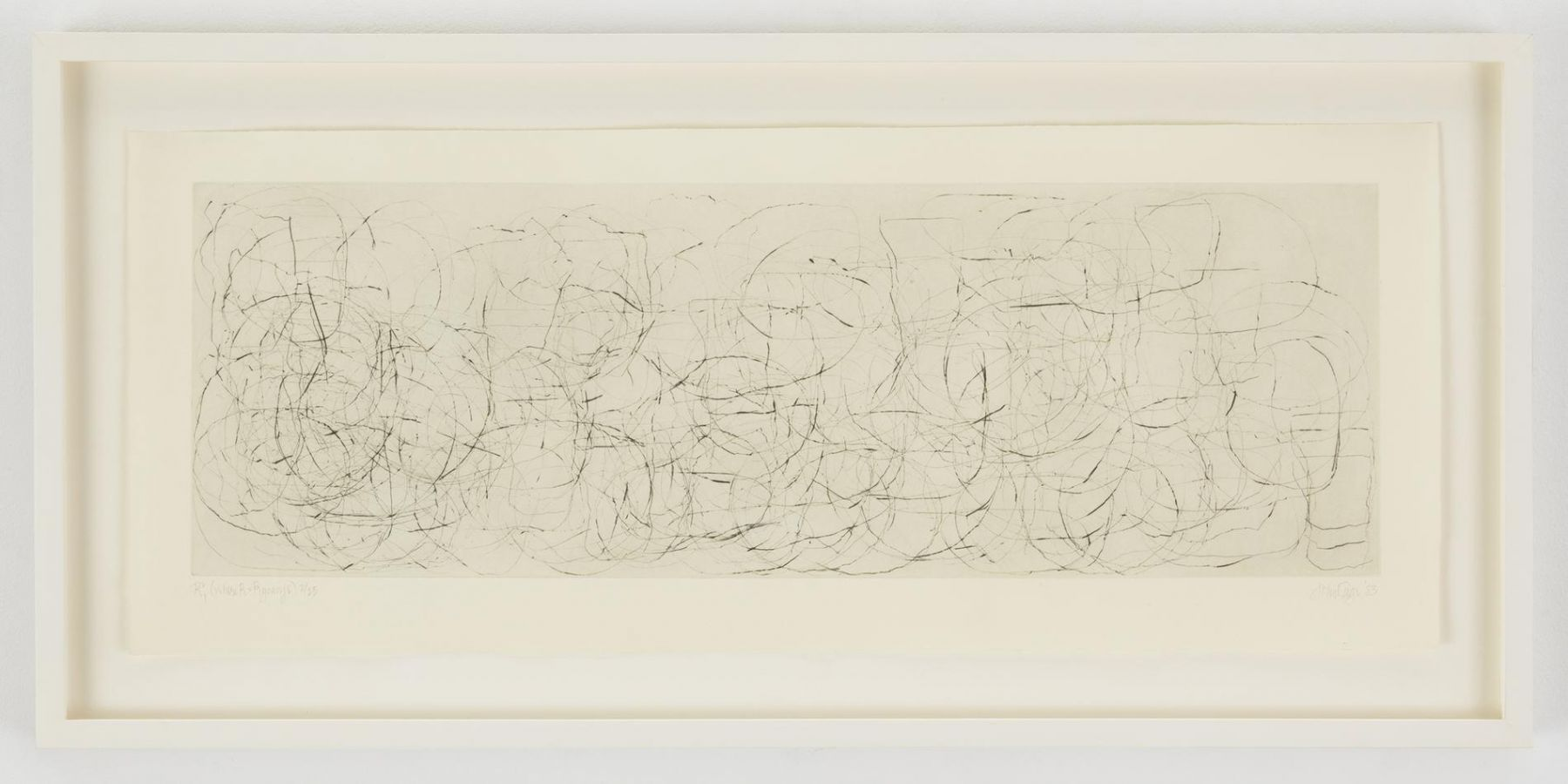 , JOHN CAGE(Where R = Ryoanji), 1983Drypoint, Set of 4Each: 9 1/4 x 23 1/4 in. (23.5 x 59 cm)Edition of 25