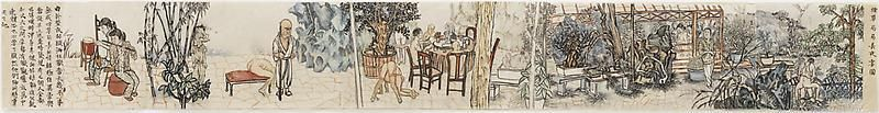 YUN-FEI JI 季云飞 Dinner at the Tobacco Minister's, 2010 Watercolor and ink on Xuan paper 水彩、水墨、宣纸 7 x 56 3/4 inches; 17.8 x 144.1 cm