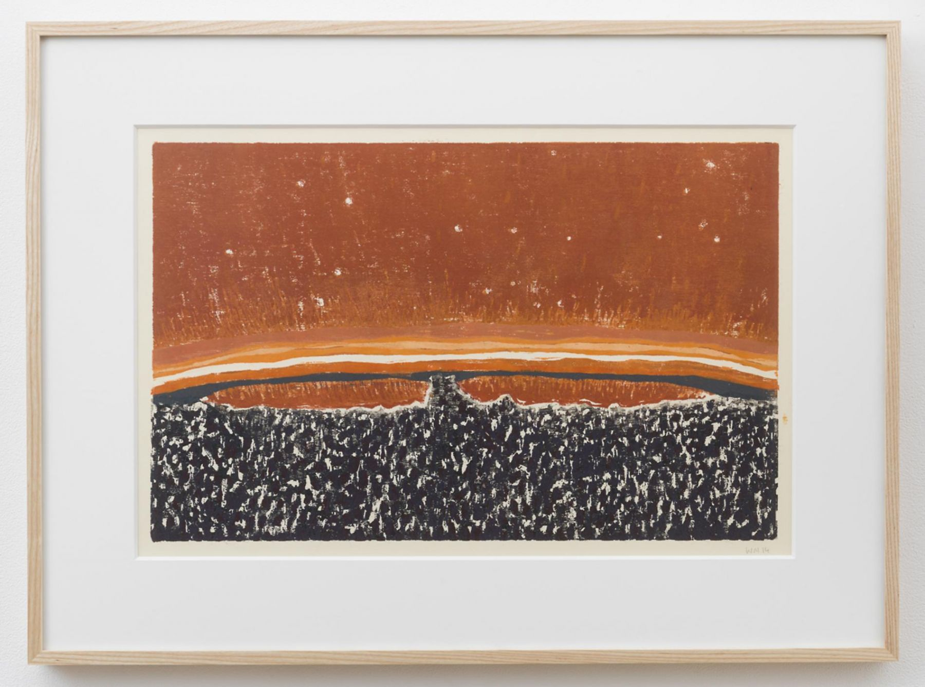 , WILLIAM MONK Untitled III (Fulcrum), 2014 Woodcut on paper 16 1/2 x 24 3/8 in. (42 x 62 cm)