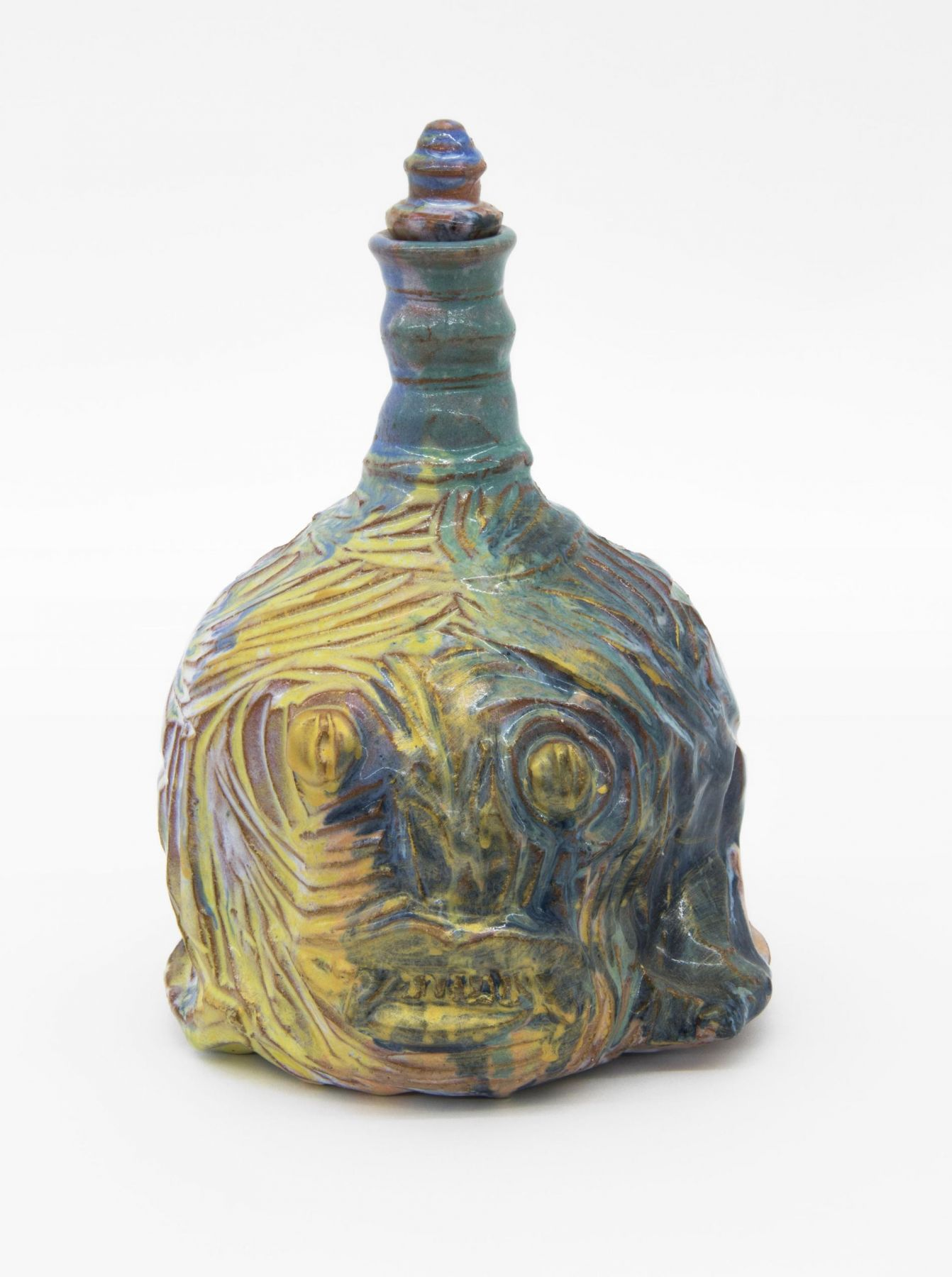 , Golden Guardian and Girl, 2009, Glazed earthenware, 9 1/4 x 6 x 6 in. including lid