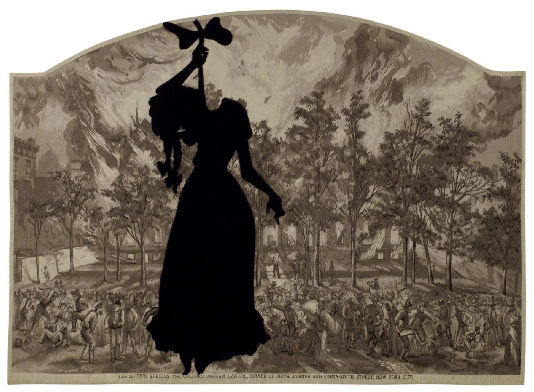 , KARA WALKER A Warm Summer Evening in 1863, 2008 Wool tapestry and hand-cut felt silhouette figure 69 x 98 in. (175.3 x 248.9 cm)Edition of 5