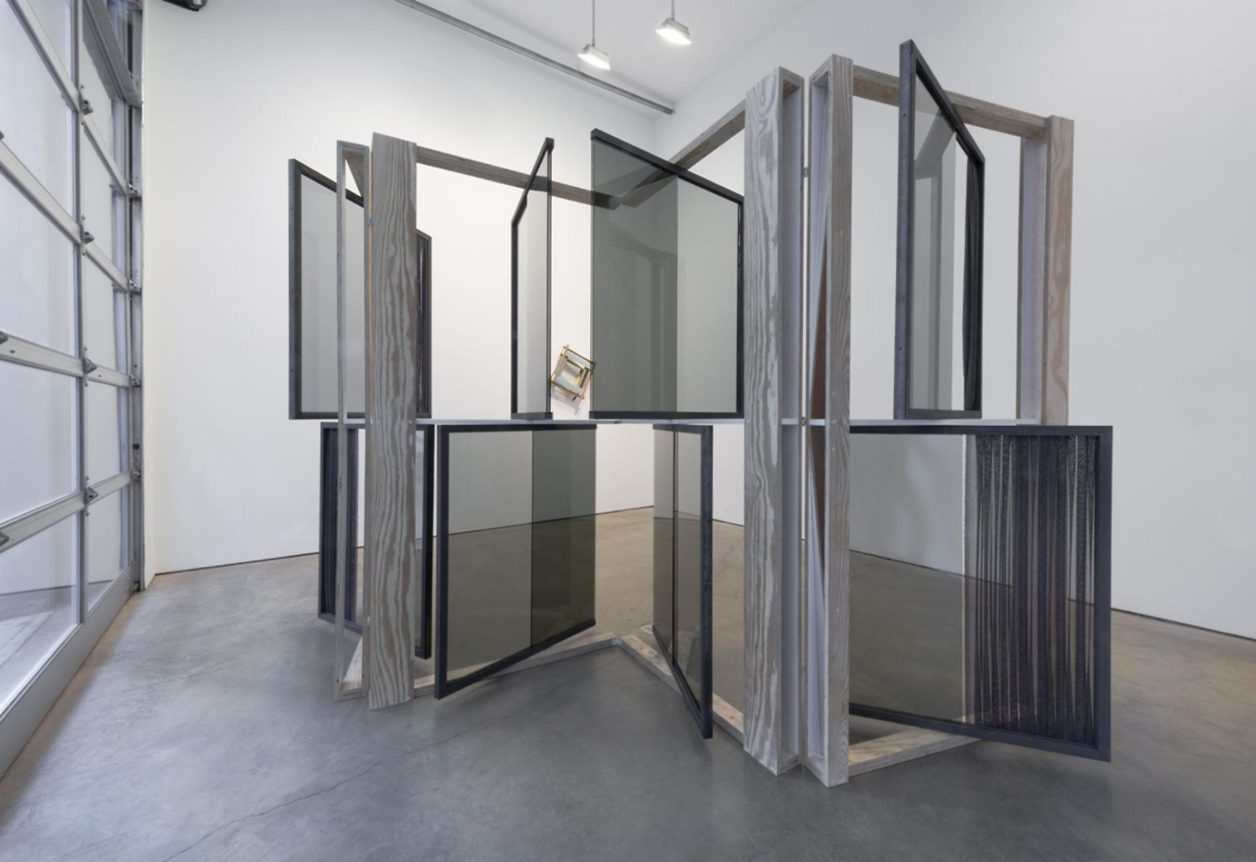 , HEATHER ROWE Suffusion Screen (her thoughts, means, and ends), 2014 Glass, mirror, plywood, wallpaper, paint, steel, fabric 156 x 88 x 24 in. (396.2 x 223.5 x 61 cm)