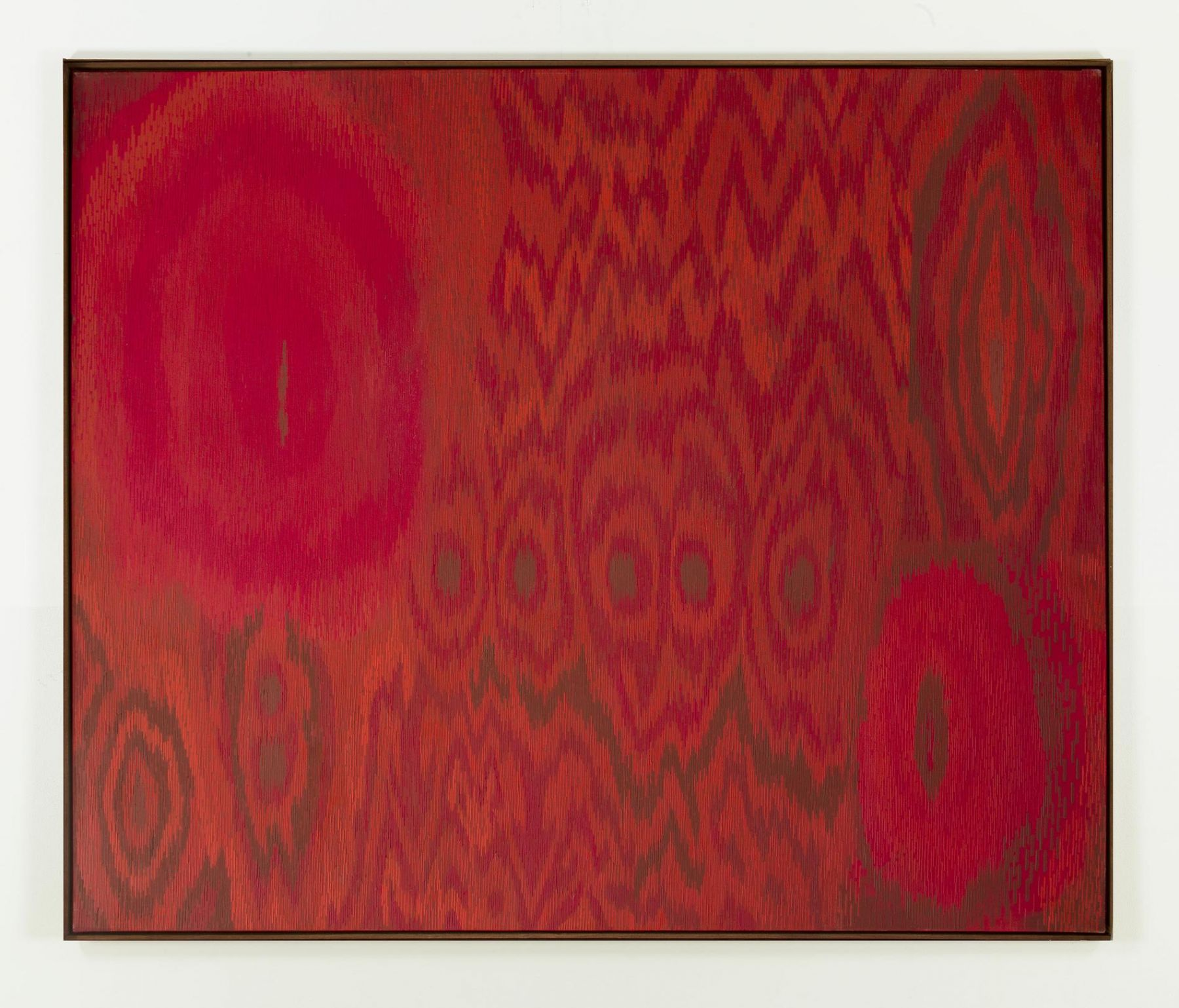 , LEE MULLICAN, Threaded Red, 1962, Oil on canvas, 50 x 60 in.