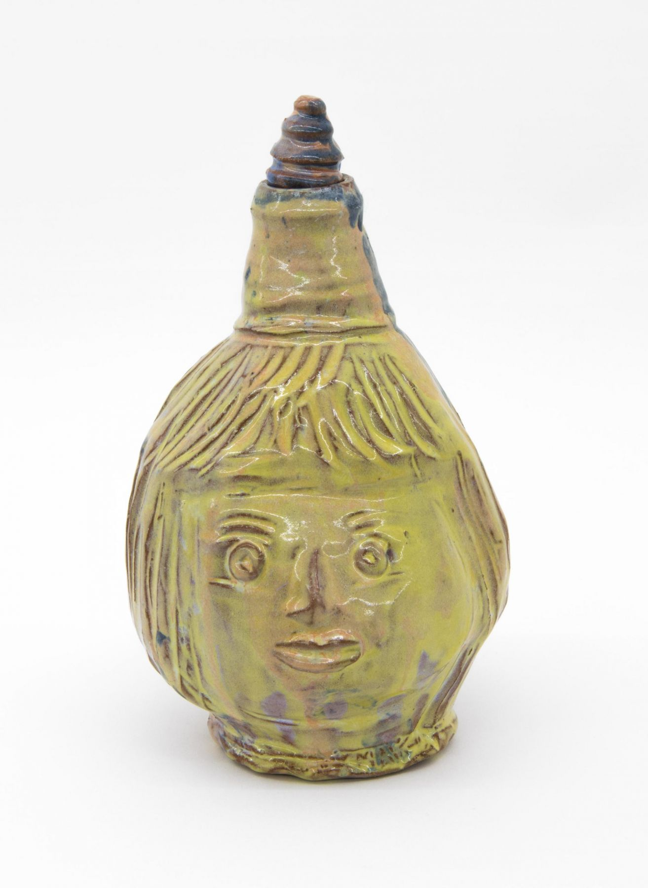 , Golden Child, 2009, Glazed earthenware, 9 1/4 x 6 x 6 in. including lid