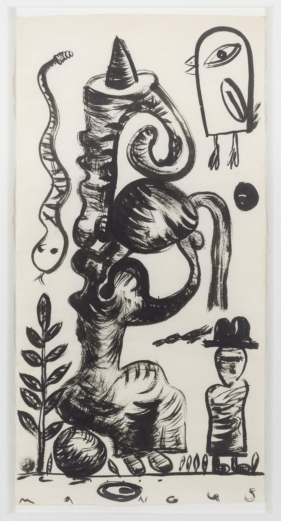 , Life In Suspension, 1989, Ink on mulberry paper, 56 1/2 x 28 3/4 in.