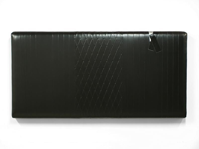 KAZ OSHIRO Untitled Painting, Upholstery (black/diamond with vertical trim, black and silver duct tape), 2011