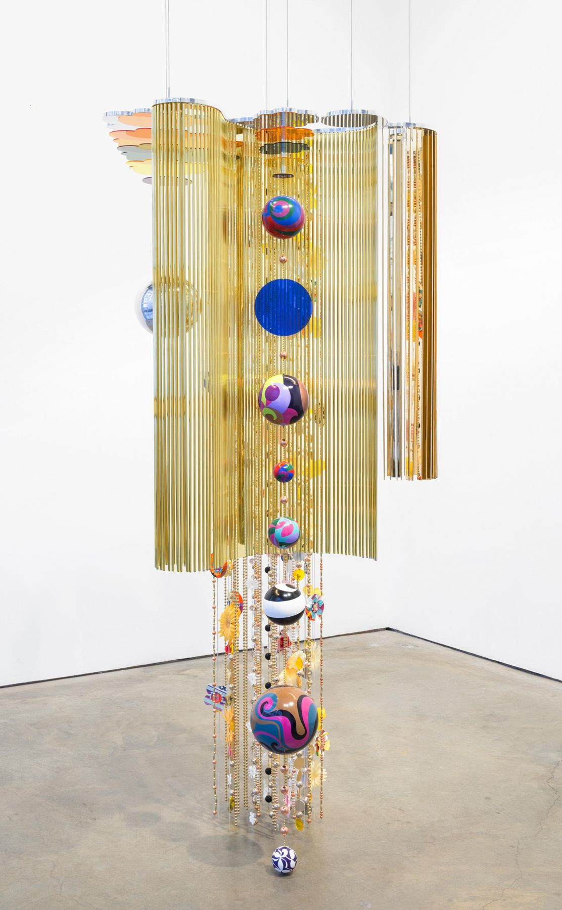 , BEATRIZ MILHAZES, Mariola, 2015 , Aluminum, brass, copper, acrylic, hand-painted enamel on aluminum, polyester and paper flowers, foiled paper, woodblock, screenprint, 89 x 42 x 32 in.