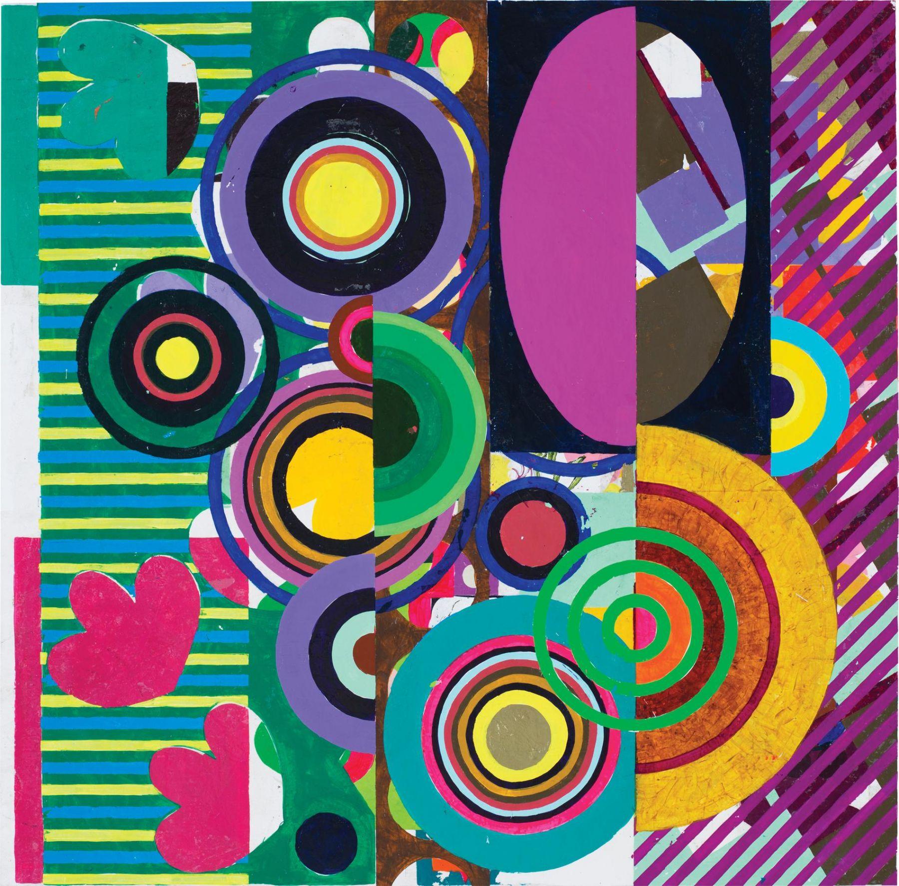 , BEATRIZ MILHAZES (佩阿特丽兹 米拉塞斯),Marotoloco, acrylic on canvas, 31 1/16 x 31 1/4 in.