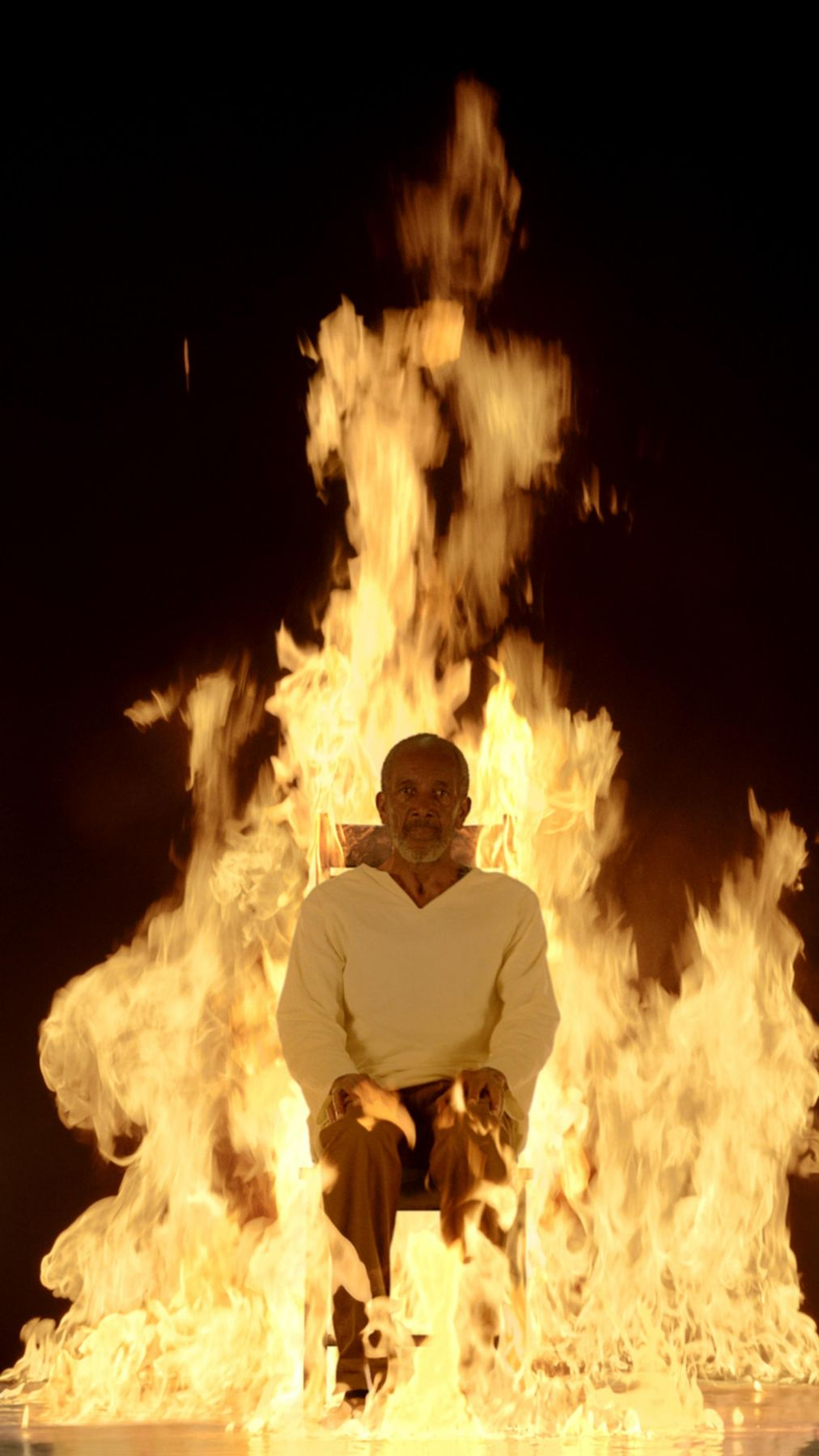 , BILL VIOLA Fire Martyr, 2014 Color High-Definition video on flat panel display, 42.4 x 24.5 x 2.7 in (107.6 x 62.1 x 6.8 cm) Duration: 7:10 minutes Edition of 5