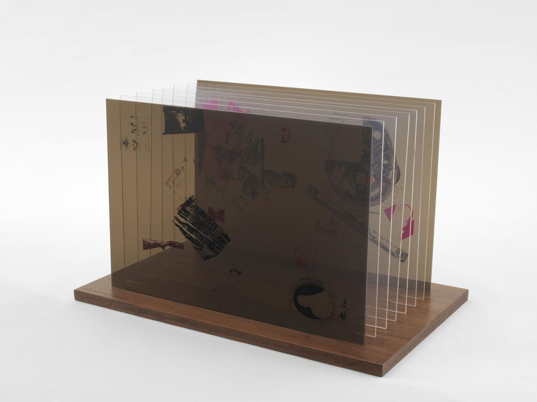 , JOHN CAGENot Wanting to Say Anything About Marcel Plexigram VIII,1969Screenprint on eight Plexiglas panels with walnut base14 x 20 x 1/8 in. (35.6 x 50.8 x 0.3 cm)