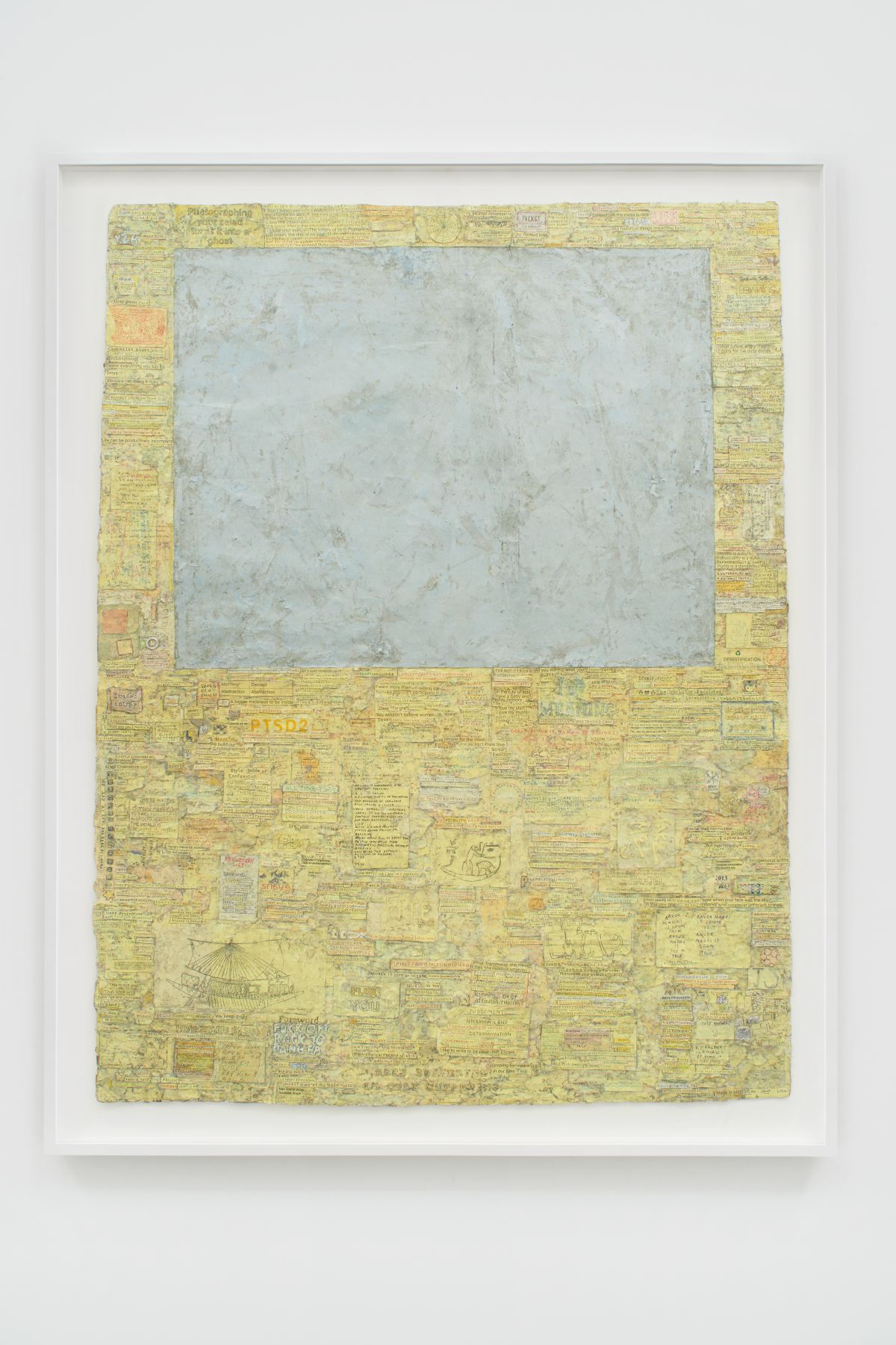 Grey square set into pale yellow field of text handwritten on strips of paper