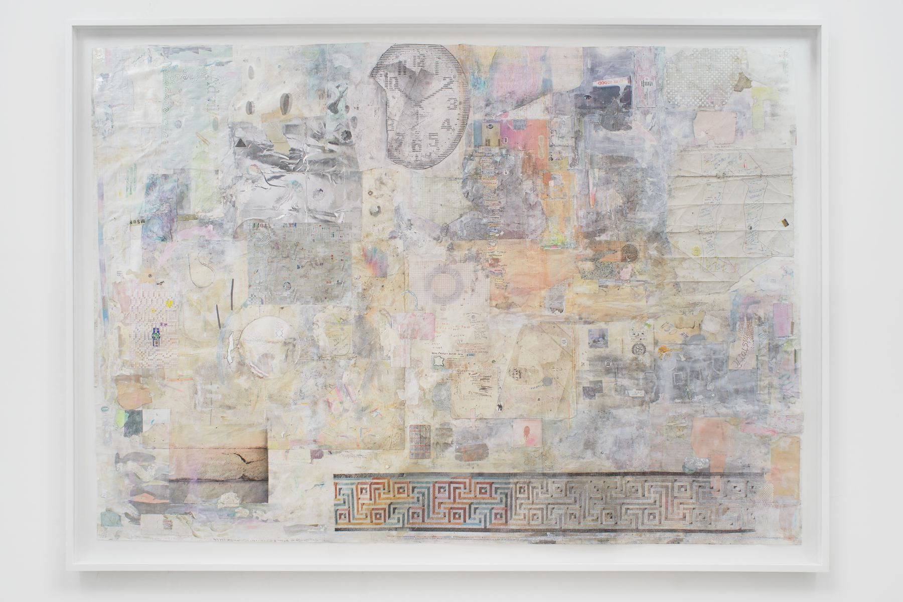 Collage of distressed paper with pictorial elements