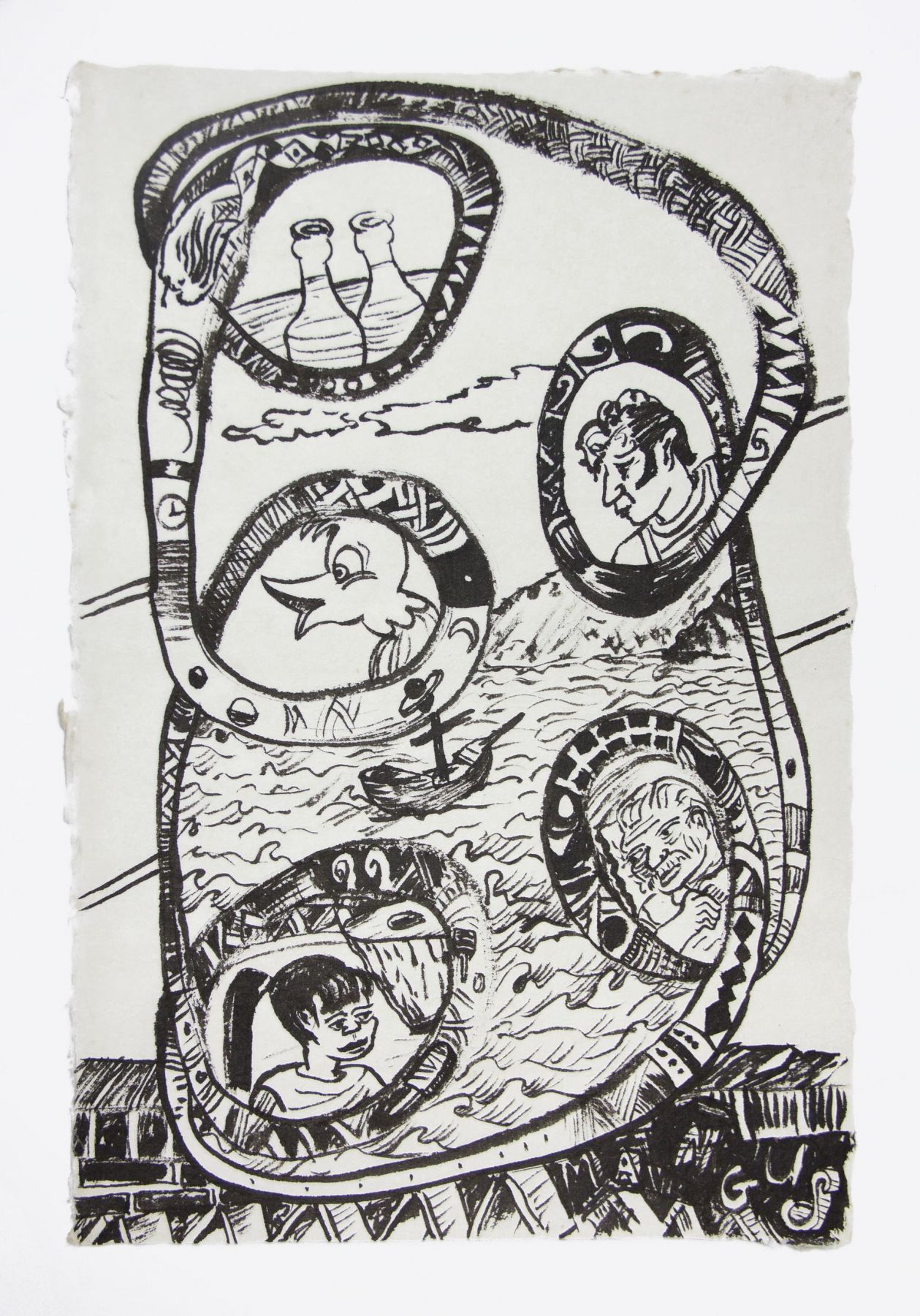 , Journey to Yelpa, 1999, Ink on mulberry paper, 17 x 12 1/2 in.