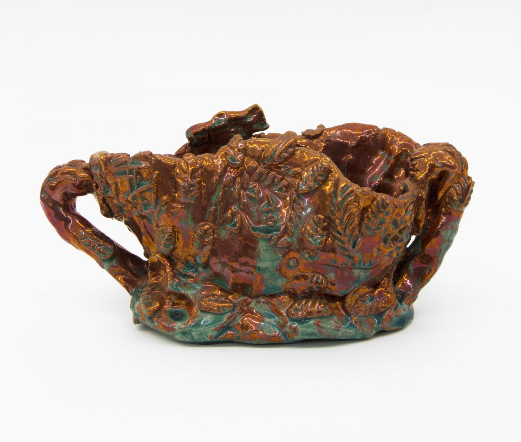 , Red Luster Floating World, 1986, Luster glazed earthenware, 4 3/4 x 9 7/8 x 4 1/4 in.