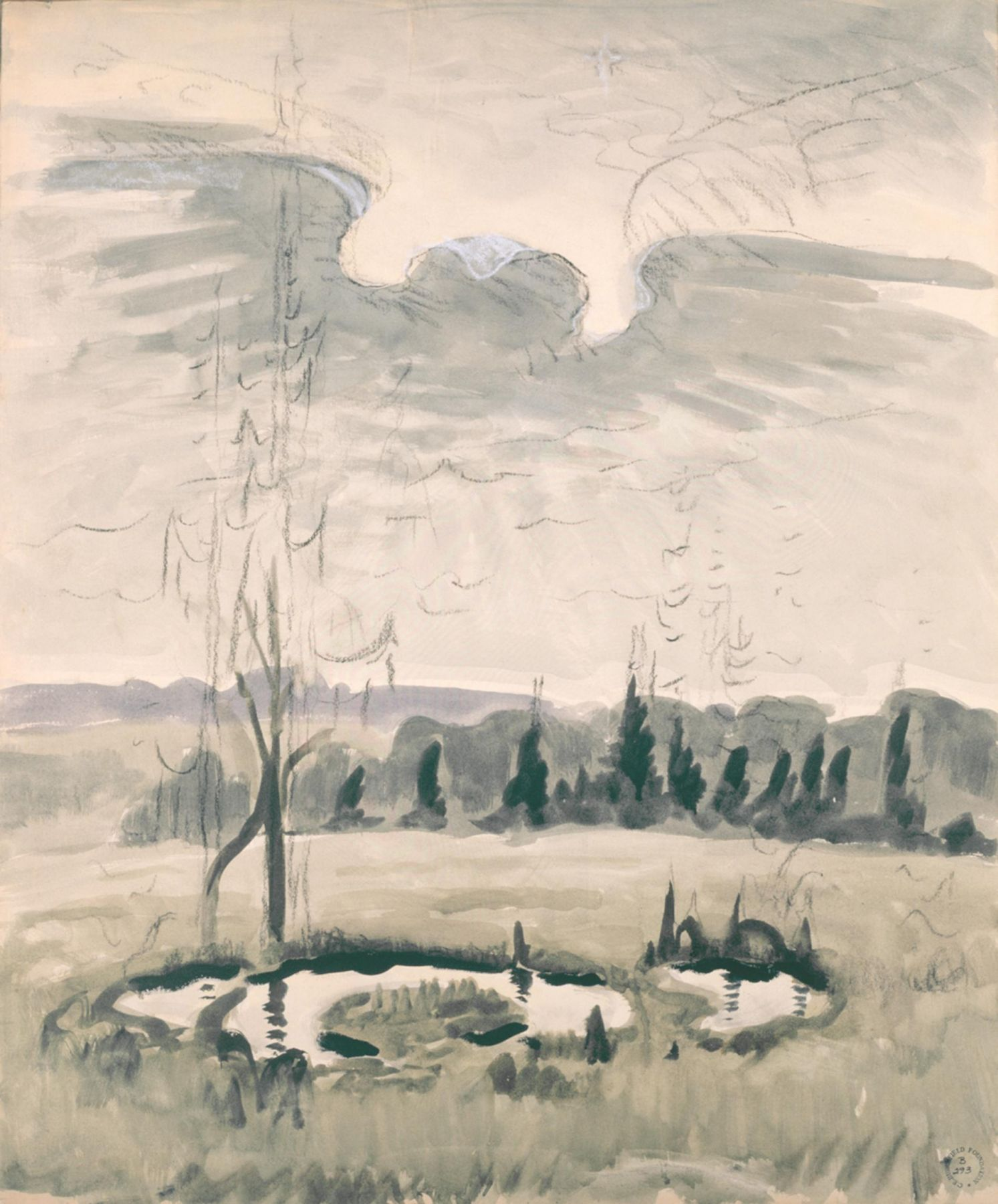 , CHARLES BURCHFIELD (1893-1967)Bird Wing Twilight,1951Watercolor, charcoal and chalk on paper29 7/8 x 25 in. (75.9 x 63.5 cm)