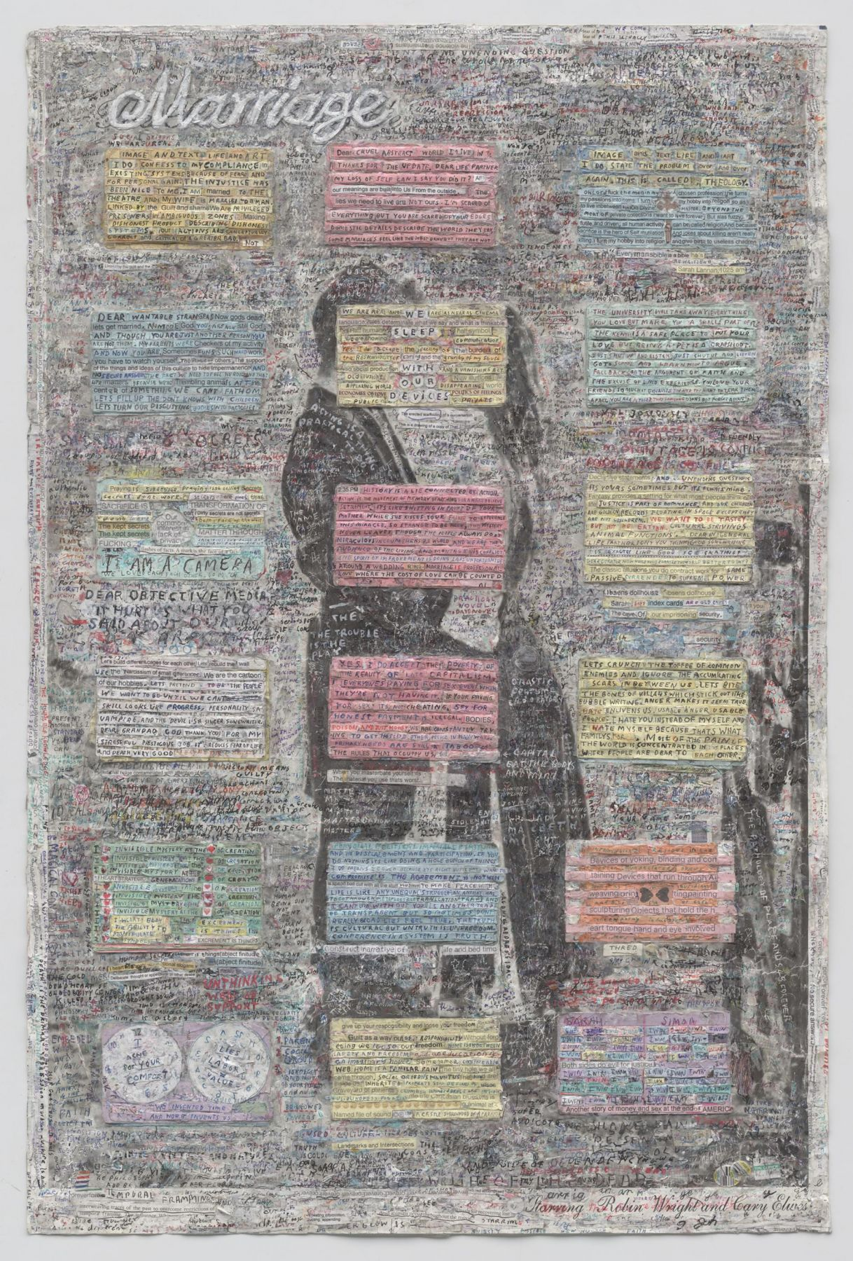, SIMON EVANS, Marriage, 2014 - 15, Found film poster. index cards, pen, paint, tape and glue, 35 3/4 x 23 3/4 in.(90.8 x 60.3 cm)