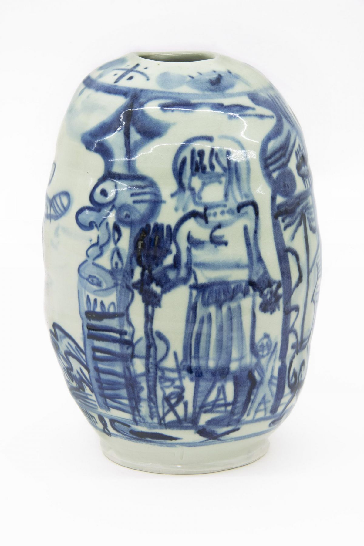 , Over Seas, 1980, Glazed porcelain, 10 x 6 1/2 x 6 1/2 in.
