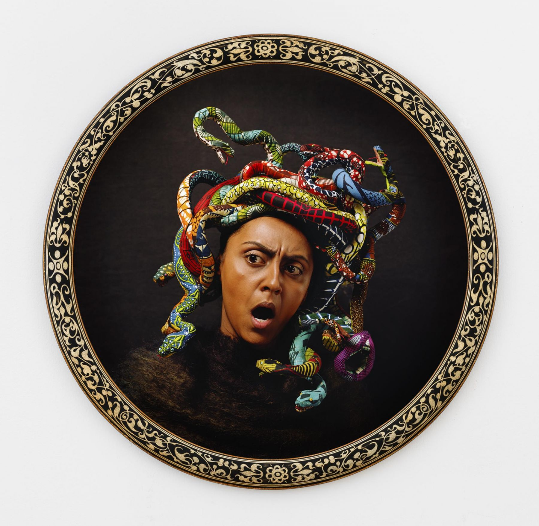 , YINKA SHONIBARE MBE Medusa North, 2015 Digital chromogenic print, bespoke wood frame Framed diameter: 44 7/8 in. (113.98 cm) Edition of 5