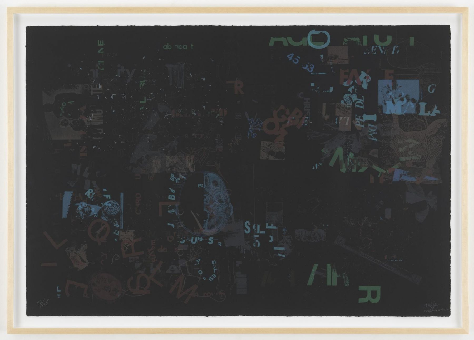 , JOHN CAGENot Wanting to Say Anything About Marcel, Litho A,1969Lithograph on black paper28 x 39 1/2 in. (71.1 x 100.3 cm) Edition of 125