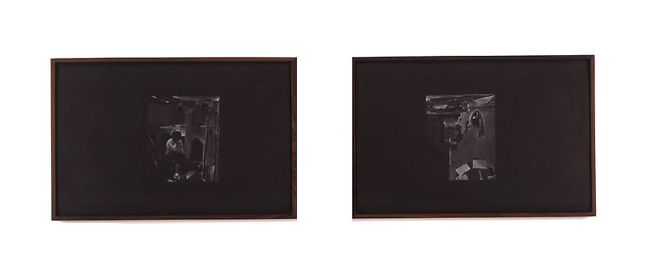 Untitled 1980 White pastel on paper (diptych)