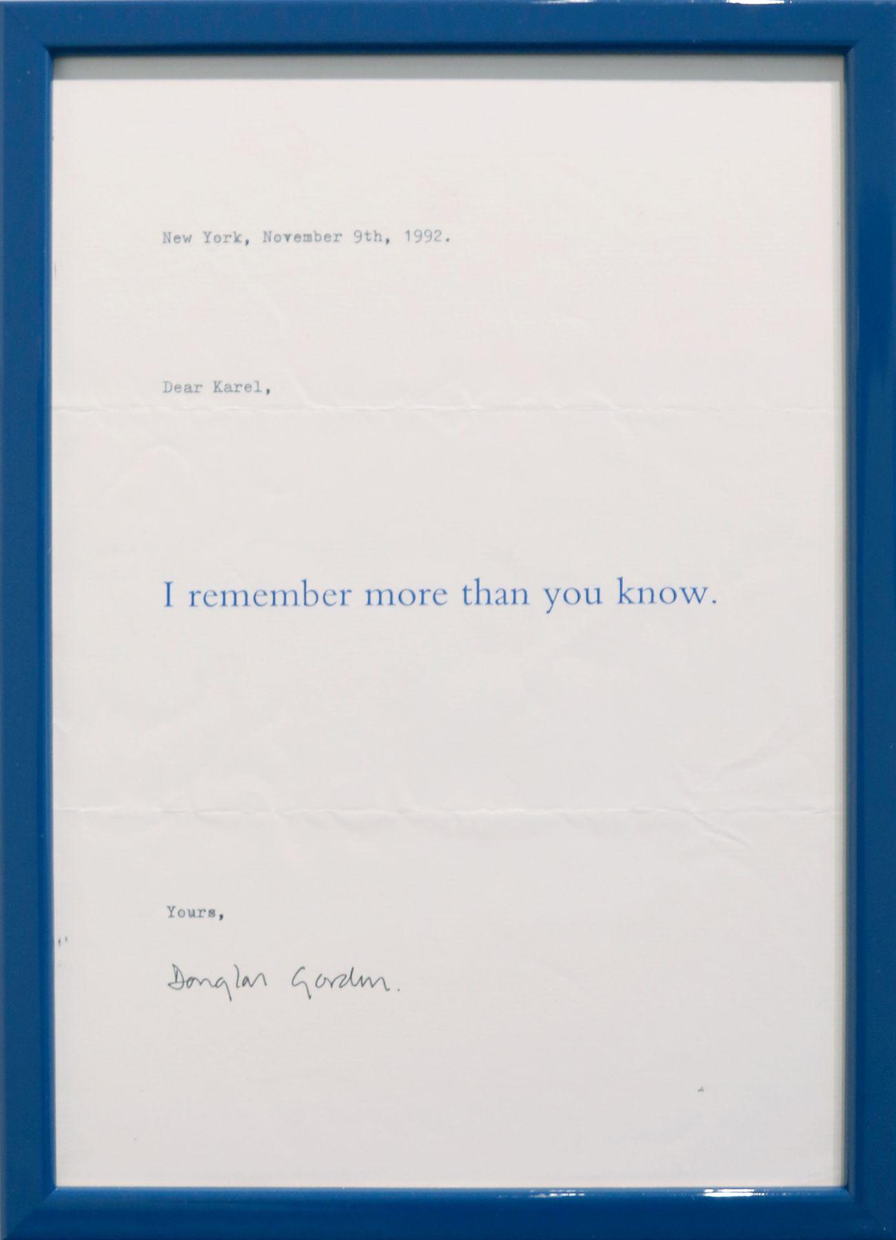 Douglas Gordon, I remember more than you know