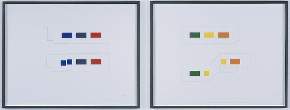 Morgan Fisher Drawing for Pendant Pair Paintings (orthographic and oblique)