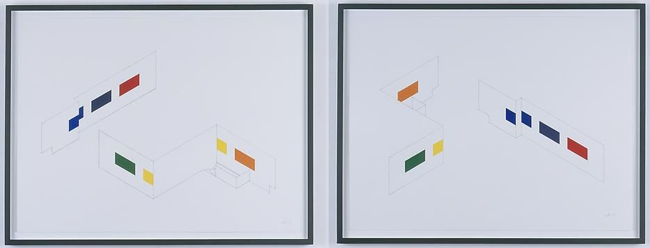 Morgan Fisher Drawing for Pendant Pair Paintings (isometric)(two parts)