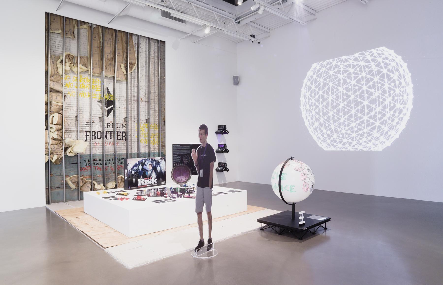 Blockchain Future State Founder Whiteboard Globe Drawing: Vatalik Buterin Ethereum