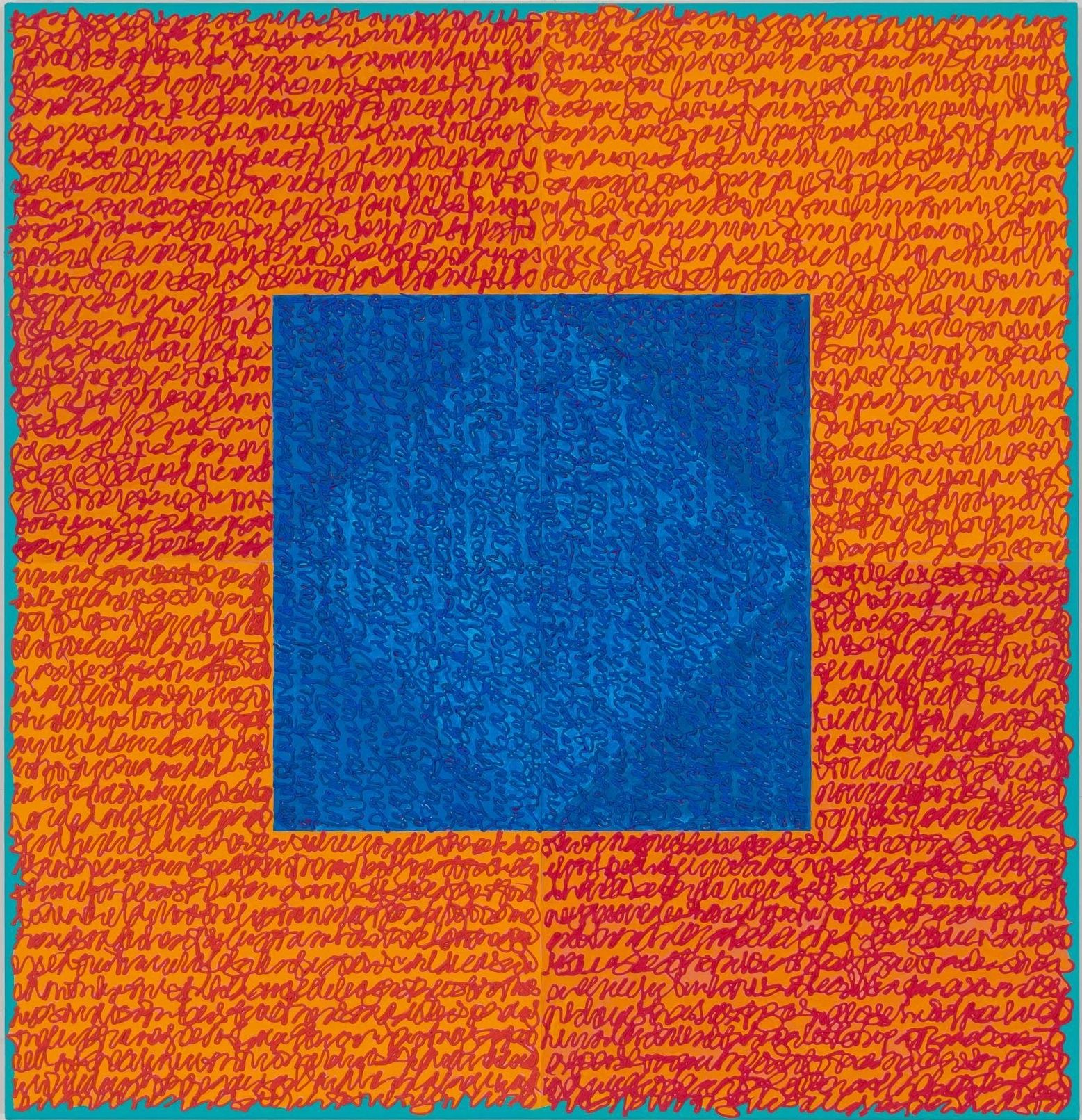 Louise P. Sloane, Sizzler, 2017, Acrylic paints and pastes on aluminum panel, 46 x 44 inches, four rectangles and a central square (blue and orange) with personal text written in red-orange over the squares to create three dimensional texture. Louise P. Sloane has been creating abstract paintings since 1974. Her works focus on geometric forms while celebrating color and texture.