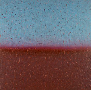 Teo Gonzalez, Arch/Horizon Painting 6, 2016, Acrylic on canvas over board, 48 x 48 inches. Sky blue and dark red background with signature grid on top. Teo Gonzalez was born in Spain, and his signature style are works that consist of thousands of drops of water, arranged into a grid pattern, inside of which a small amount of ink or enamel was dropped and left to dry.
