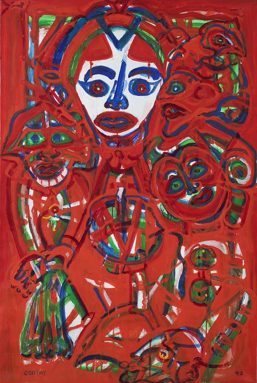 Herbert Gentry, The Tree, 1992, Acrylic on canvas, 48 x 32 inches, Portraits painted in red, blue and green. Herbert Gentry painted in a semi-figural abstract style, suggesting images of humans, masks, animals and objects caught in a web of circular brush strokes, encompassed by flat, bright color.