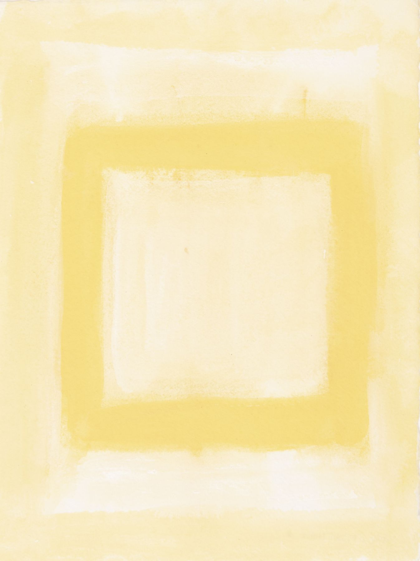 Felrath Hines, Untitled,  Watercolor on paper,  7.75 x 6 inches, Unsigned. Soft pastel yellow background with outlined yellow square in the center of the frame. Felrath Hines worked to create universal visual idioms from a place of complex personal experience. His figurative and cubist-style artwork morphed into soft-edged organic abstracts as he grappled with hues in his chosen oil medium.