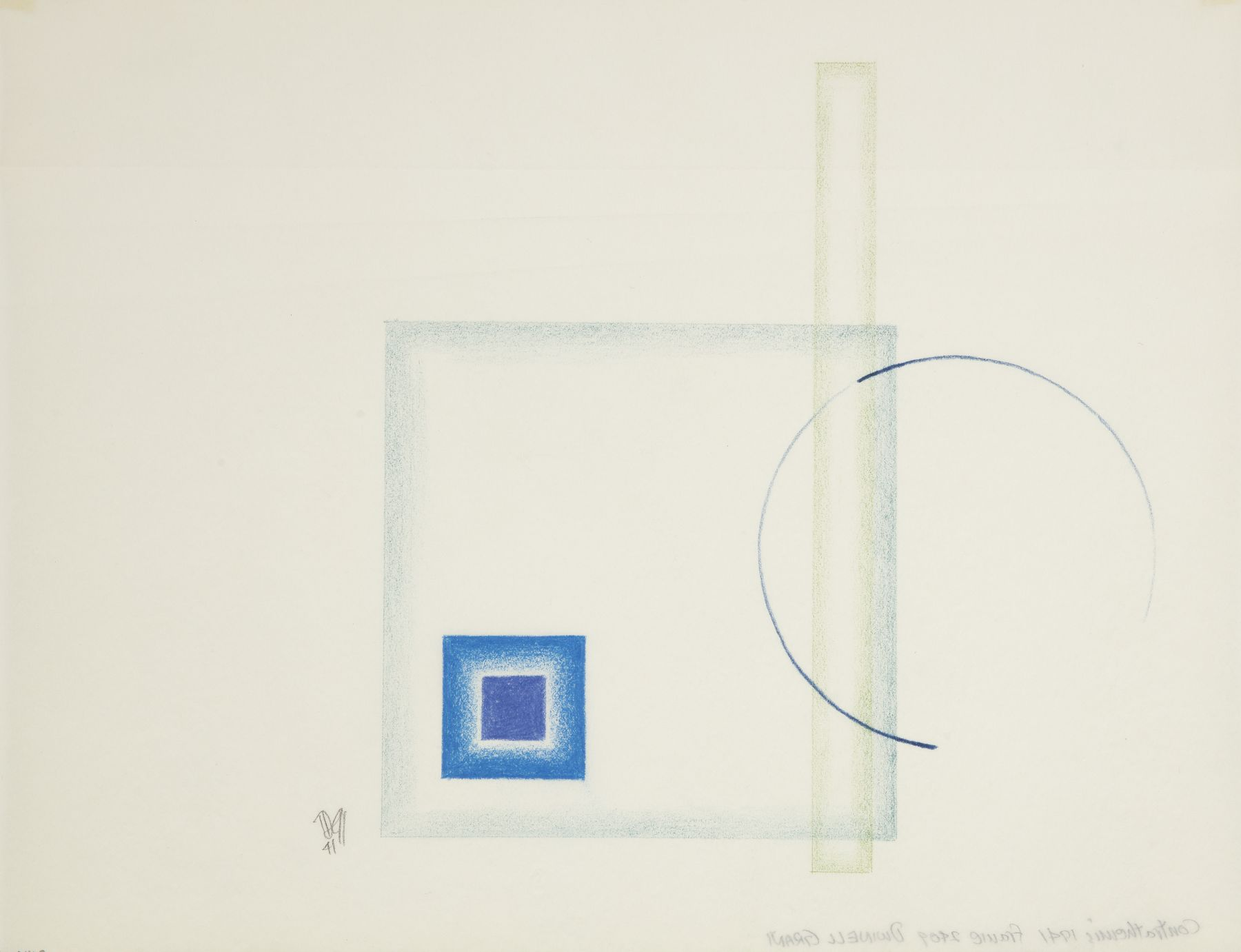 Dwinell Grant, Contrathemis Frame 2409, 1941,  Colored pencil on tracing paper, 8 x 10 1/2 inches, 3 blue squares, and one vertical sphere. Dwinell Grant made experimental modernist and constructivist films and paintings.