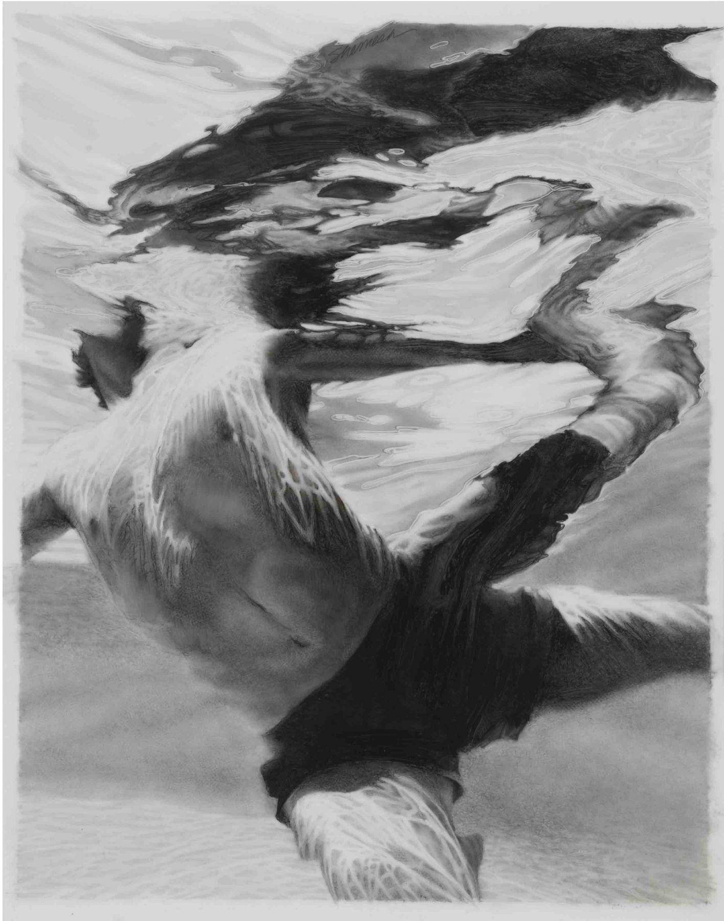 Lorraine Shemesh,  Lunge, 2014,  Graphite wash on mylar,   29-1/2 x 23,  Signed upper left. Underwater composition of a male form. Lorraine Shemesh is an American artist who abstracts the human form. She marries figure-based painting with abstract expressionist concerns.