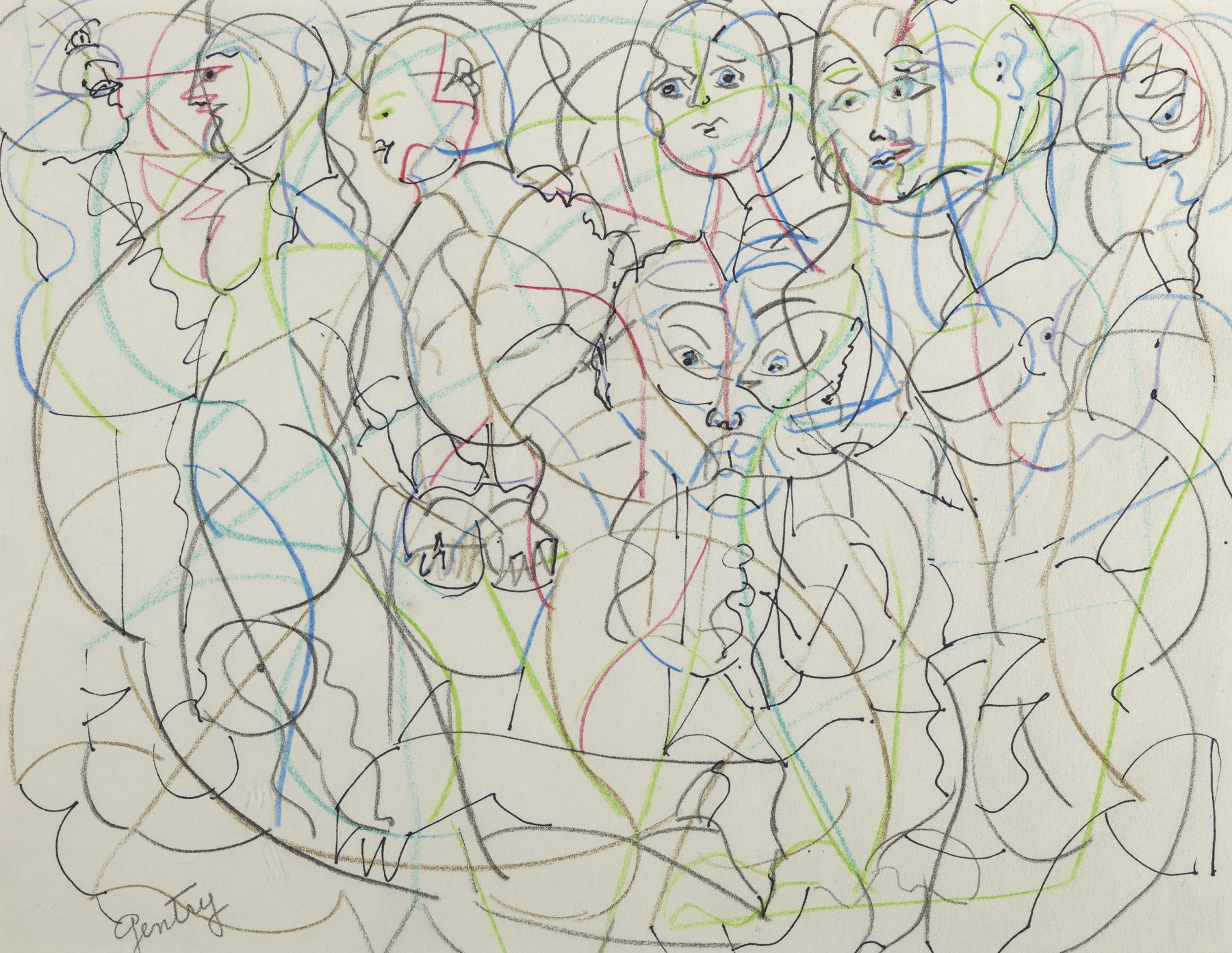 All of Us Series, 1992, Color and graphite on paper
